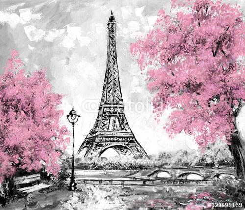 Obraz Olejny Paryż W Odcieniach Czerni Bieli I Różu