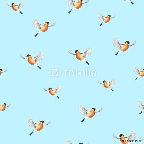 Akwarela Gil Na Niebieskim Tle Ptak W Rysunku Ręcznego Lotu Symbol