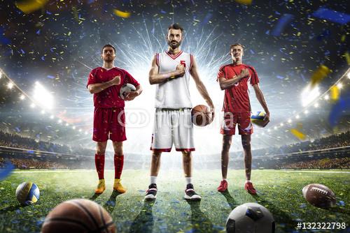 Wielu sportowców dumni kolaży na wielkiej arenie