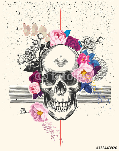 Naturalistyczna Ludzka Czaszka Sporządzona W Stylu Trawienia I Otoczona Kwiatami Róży Z Czarnym Tuszem Rozprysków I Linii Na Tle Ilustracja Wektorowa