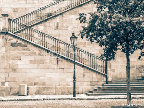 Szczegół Charles most, Praga, republika czech, w sepiowym