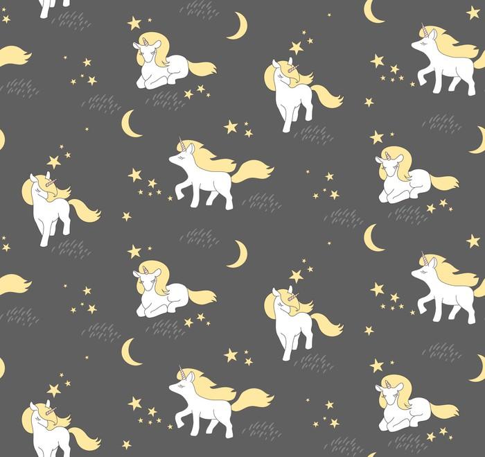 Jednolite wzór z cute jednorożce, gwiazdy i księżyc. Ilustracji wektorowych