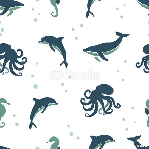 Wzór zwierząt bez szwu morza. Tło z wieloryba, delfin, ośmiornica, konik morski.