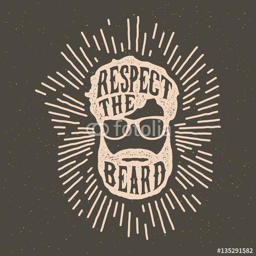 Hipster z brodą i zabawnym hasłem