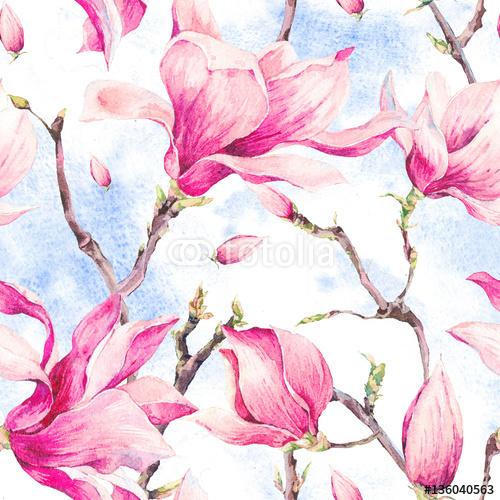 Akwarela kwiatowy wiosna wzór z magnolii