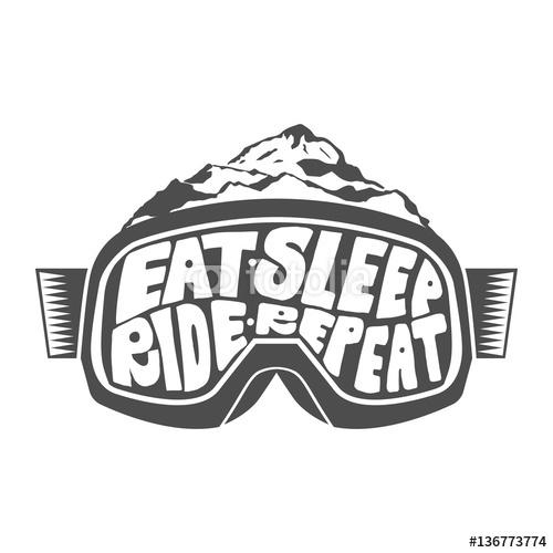 Handdrawn vintage cytaty snowboardowe