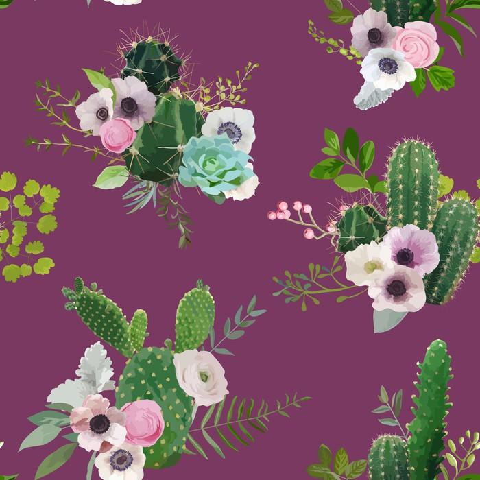 Wektorowy kaktusa i kwiatów Bezszwowy wzór. Egzotyczny tropikalny lato botaniczny tło.