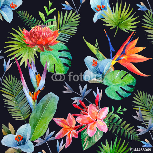 Tropikalne kwiaty i liście na czarnym tle