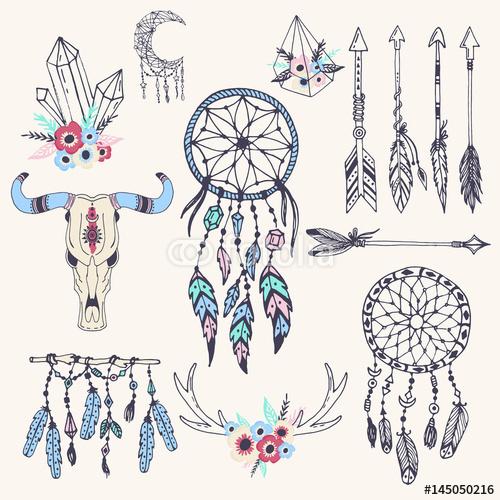 Kreatywnie boho stylu ram mady piórek etniczne strzała i Kwiecista elementu wektoru ilustracja.