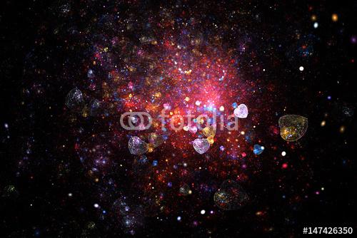 Jasna galaktyka. Abstrakcjonistyczni olśniewający serca i iskry wirują na czarnym tle. Fantastyczna fraktalna tekstury w kolorach czerwonym, złotym, różowym i niebieskim. Sztuka cyfrowa. Renderowania 3D.