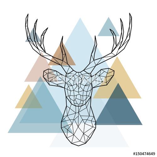 Geometryczna Głowa Jelenia Skandynawski Styl