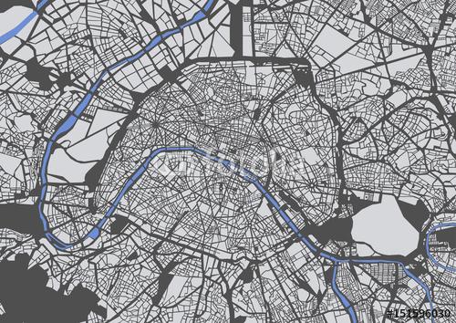 mapa miasta Paryż, Francja
