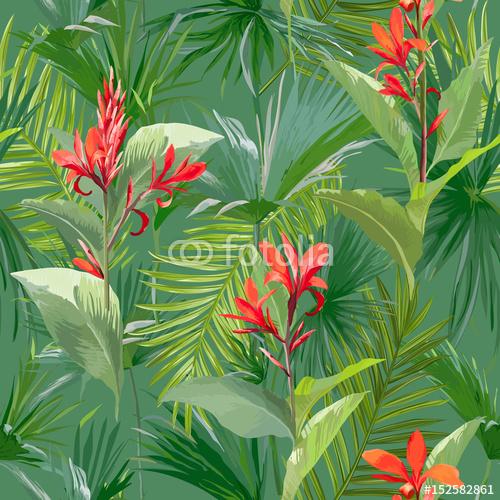 Tropikalne palmy i czerwone kwiaty