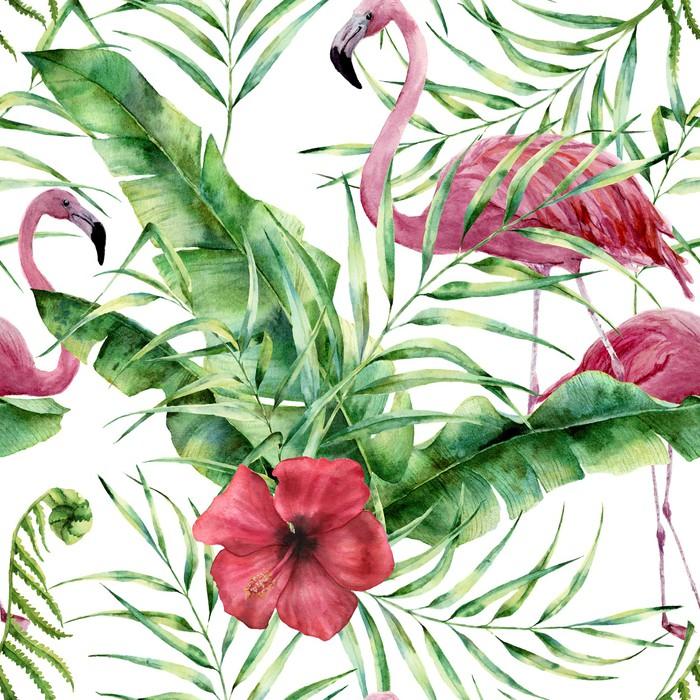 Flamingi i egzotyczne liście