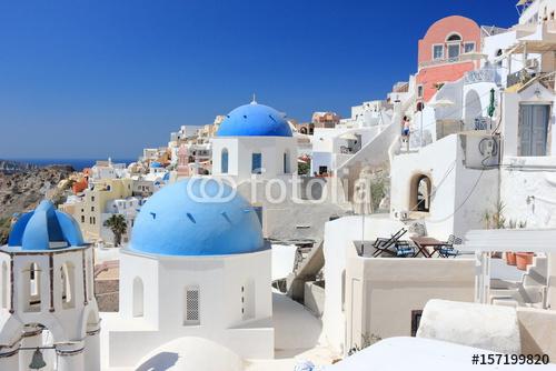 Oia na wyspie Santorini. Cyklady, Grecja.