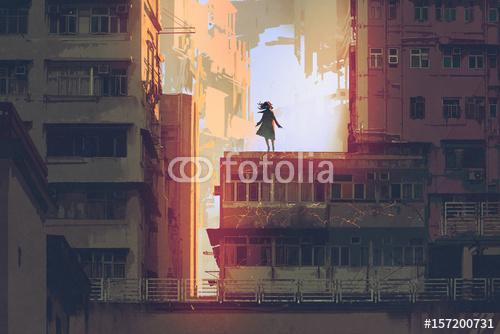 mistyczna dziewczyna stoi na dachu starego budynku w cyfrowym stylu sztuki, malarstwa ilustracyjnego