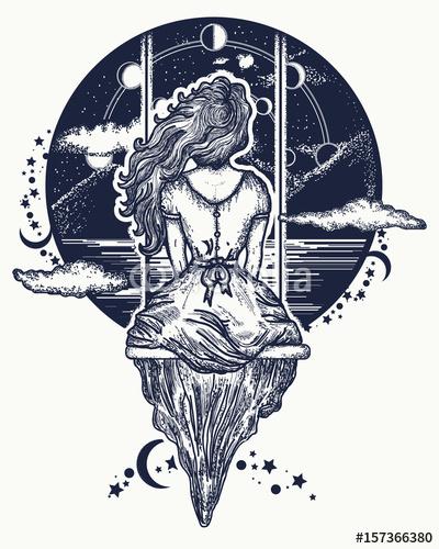 Dziewczyna Na Huśtawce Leci Do Nieba Niebiesko Biała Ilustracja