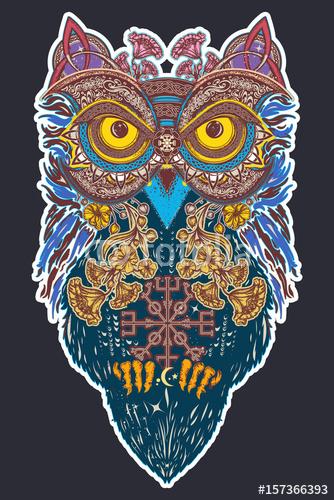 Sztuki Tatuażu Sowa Kolor Sowa W Etnicznym Stylu T Shirt W Stylu
