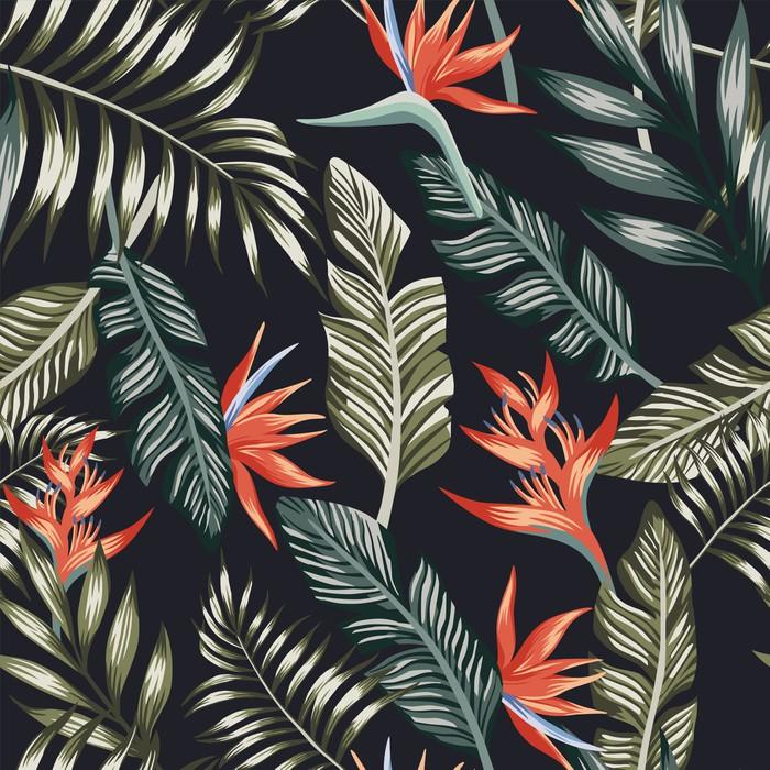 Palma opuszcza tropikalnych kwiatów bezszwowego czarnego tło