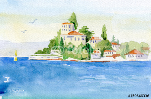 Morski krajobraz malowany akwarelą