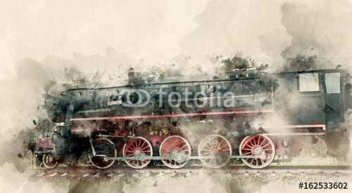 Stare lokomotywy parowe XX wieku. Tło akwarela