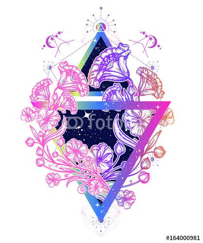 Kwiaty secesji w trójkąt sztuki tatuażu. Pełen wdzięku kwiaty w mistycznym trójkącie t-shirt. Symbol sztuki, wolność, astronomia, tajemniczy tatuaż wiedzy