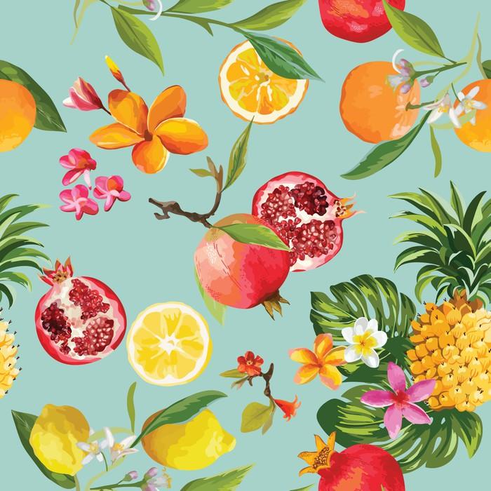 Deseń bez szwu tropikalnych owoców. Granat, cytryna, pomarańczowe kwiaty, liście i owoce tło.