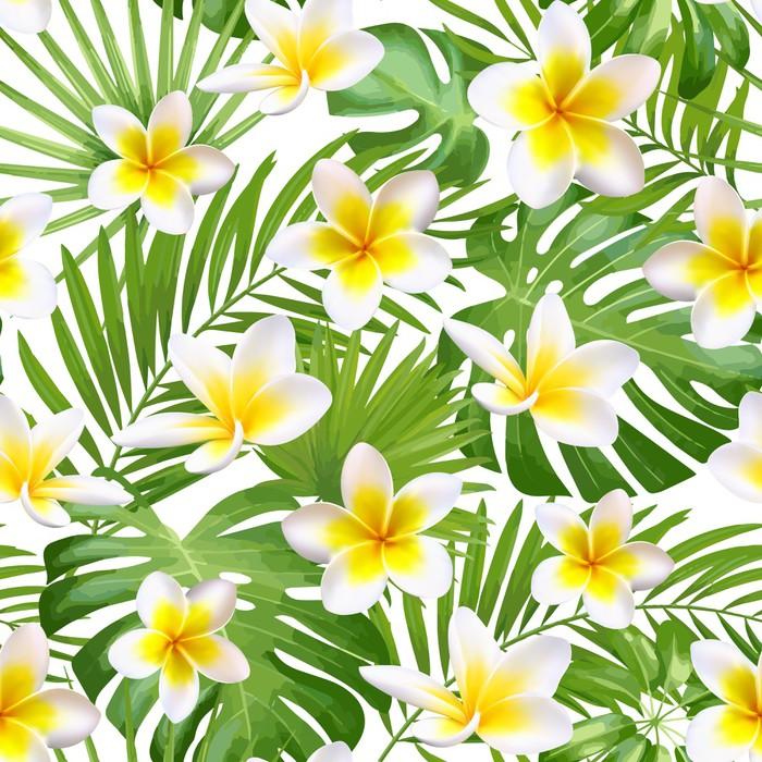 Bezszwowy egzotyczny wzór z tropikalnymi liśćmi i kwiatami na beżowym tła tle. Ilustracji wektorowych.