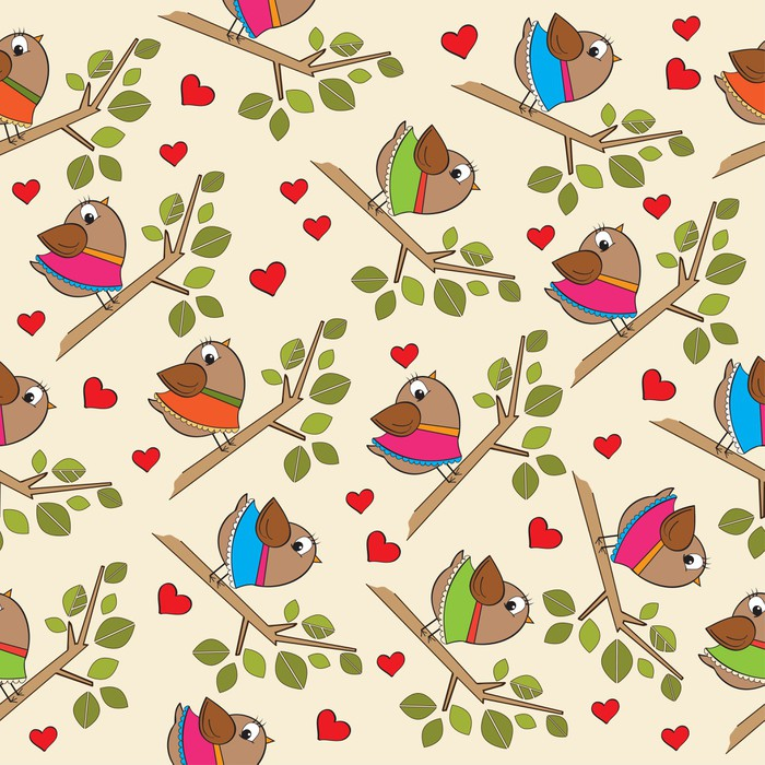 zabawny wzór z ubranych ptaków