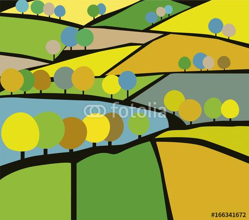 Vektor Ilustracja krajobrazu wiejskiego, pola i drzewa rolnictwa. Wrażenia z ekologicznej wiejskiej strony w płaskiej konstrukcji.