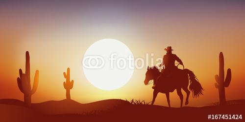 b20e80627 Fototapeta samoprzylepna. kowboj - zachód słońca - koń - krajobraz, western,  pustynia - kaktus