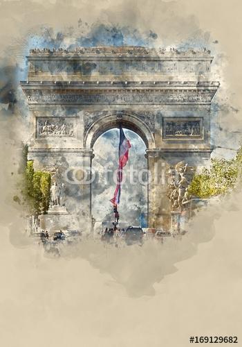 Sławny punkt zwrotny w Paryż - Łuk De Triomphe - Triumphs Łuk