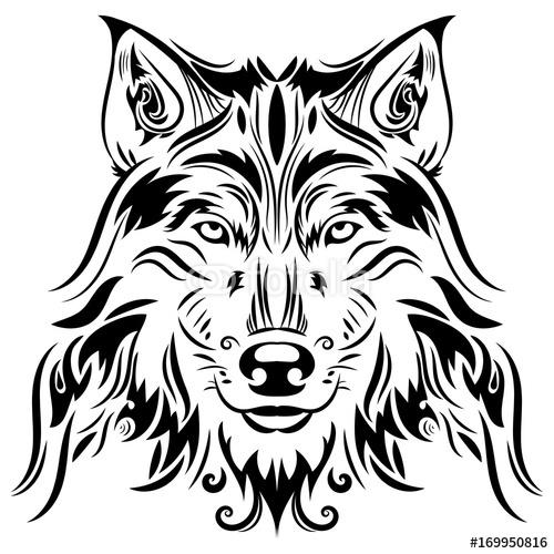 Piękny Wilk Tatuaż Wektor Wilk Głowa Jako Projekta Element Na Odosobnionym Tle