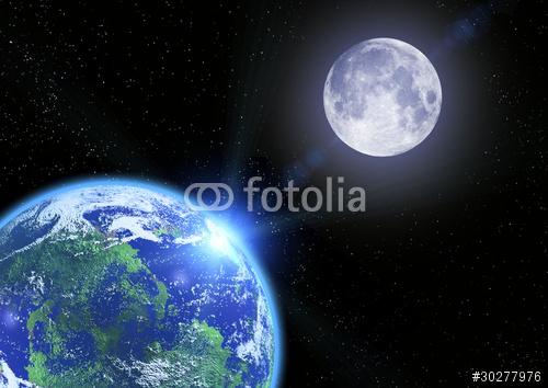 Ziemia księżyc i gwiazdy w przestrzeni