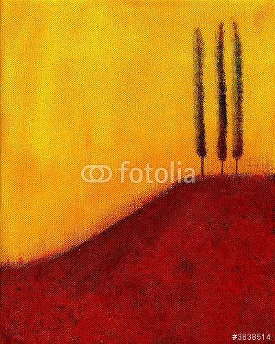 To jest abstrakcyjny obraz drzew na wzgórzu.