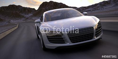 samochód sportowy szybko uruchomić pod pustynią renderowania 3d zachód słońca