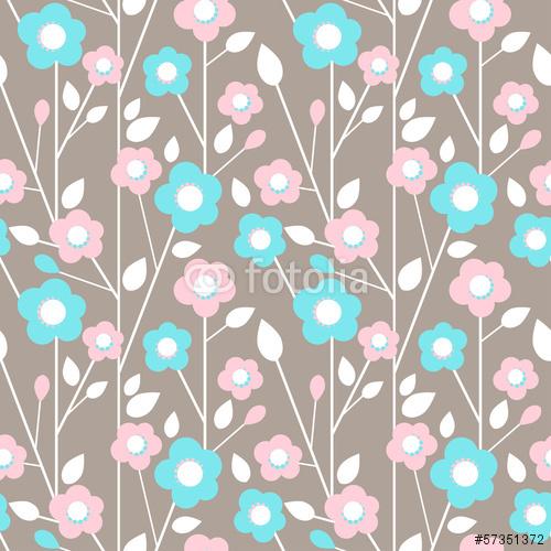 Wektorowy bezszwowy wzór z kwiatami, liście