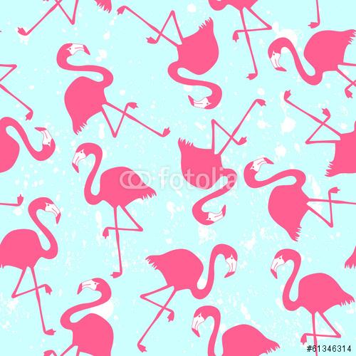 Bezszwowy wzór z różowymi flamingami