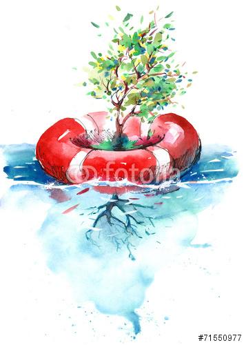 Drzewo Rosnące W Wodzie Akwarela