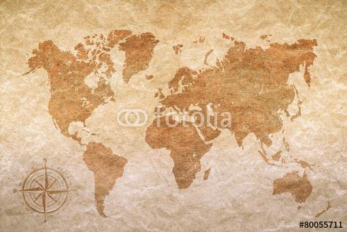 vintage papier z mapy świata