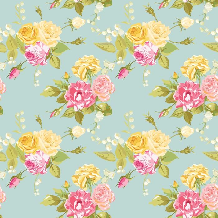 Bezszwowy Kwiecisty Shabby Chic tło - rocznik róż kwiat