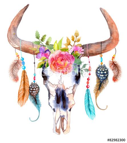 Czaszka akwarela byka z kwiatów i piór