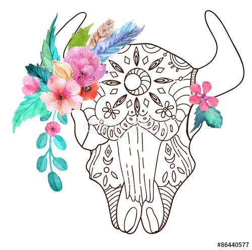 Doodle byk czaszka z akwarela piórkami i kwiatami