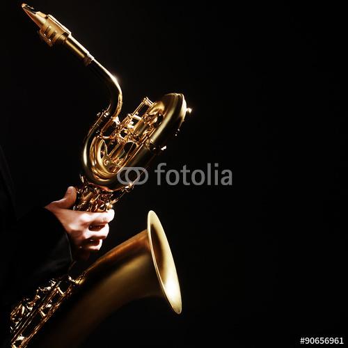 Instrumenty Muzyczne Jazzowe Na Czarnym Tle