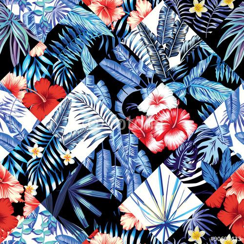 tropikalny kwiatowy patchwork modny wzór