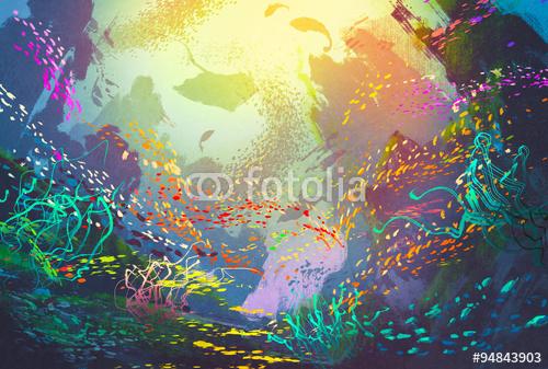 Podwodna Fantazyjna Rafa Koralowa I Kolorowe Ryby