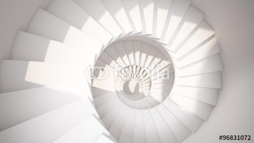 Biel ślimakowaci schodki w słońca światła abstrakcjonistycznym 3d wnętrzu