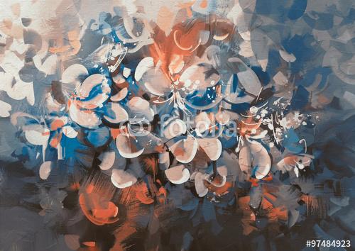 abstrakcyjne kwiaty malarskie w stylu vintage