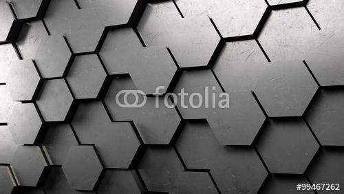 Tło z sześciokątami, heksagon 3D