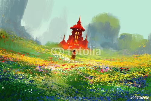 kobieta w pola kwiatów obok czerwony zamek i góry, ilustracja malarstwo